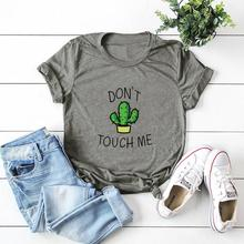 Do TOUCH ME Cactus Print Summer New Casual Harajuku Fashion Women's Vintage Gray White O-Neck T-Shirt Tops 0606-27