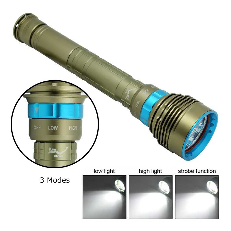 Super Bright 15000 Lumens 7 XML L2 LED Scuba Diving Flashlight Underwater Dive Torch Light 3 Modes Waterproof Diver Flashlight hight quality xml l2 10000 lumens led flashlight bright scuba silver diving light flashlight torch 4x xml l2 100m diver