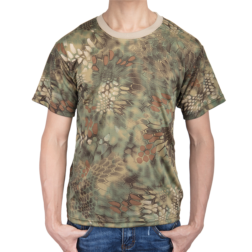 Military Camouflage Camo T-Shirt Army Combat Cotton Quick-dry T-Shirt Mens
