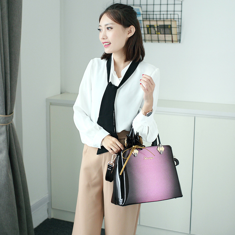 2018 new luxury bag women bag designer high quality patent leather handbag ladies red wedding messenger bag office business tote