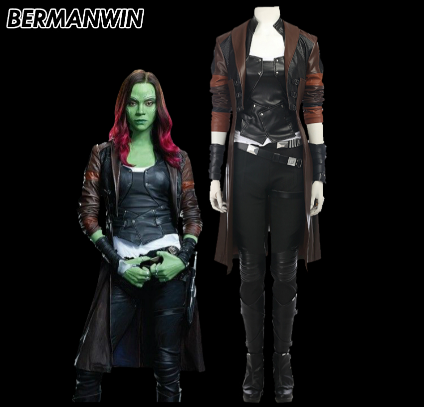BERMANWIN High Quality Guardians of the Galaxy Vol.2 Gamora costume adult women Gamora suit Halloween Cosplay Costume