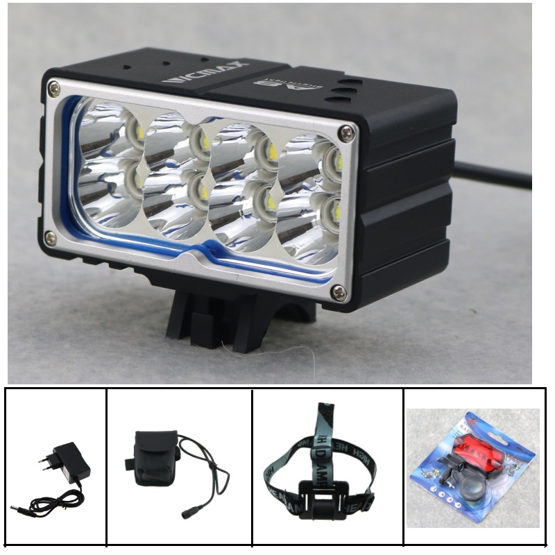 15000 lumen Bicycle Cycling Lamp 8x CREE XM-L2 LED Bike Front Light Headlight + 18650 Battery Pack+ Charger + Bike Rear light waterproof 2000 lumen led cree xml2 u2 led cycling bicycle bike usb 18650 light lamp headlight headlamp headlight strips charger