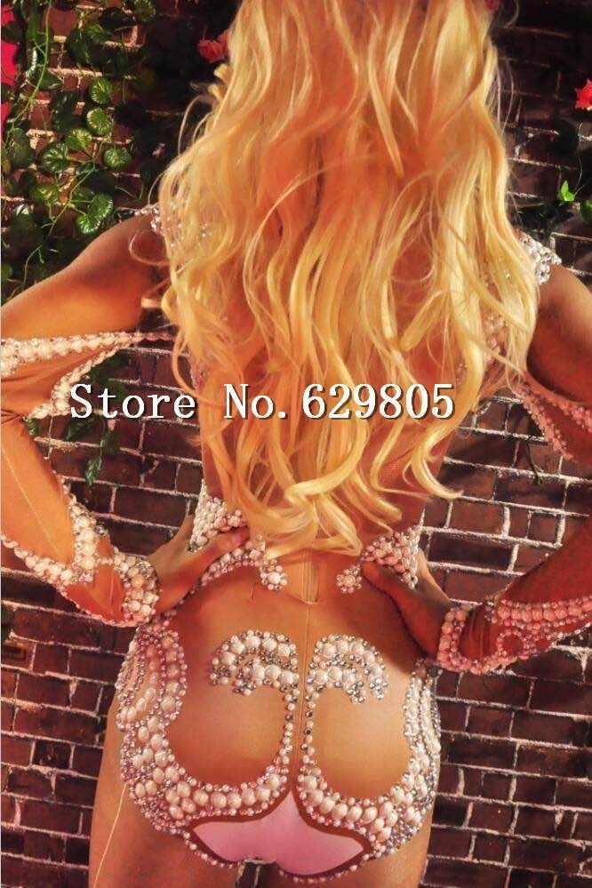 Сексуальный жемчуг боди с длинным рукавом женская одежда фотосессия танец тела костюм ночной клуб бар наряд певицы трико одежда