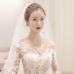 Image 5 - Simple See Through Lace Long Sleeve Wedding Dress 2019 Ball Gown Wedding Dresses China Cheap Bridal Gowns Made In China