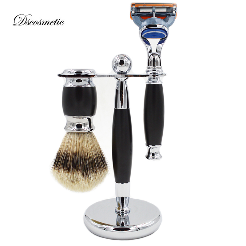 DS shaving brush set silvertip badger hair shaving brush safety razor brush stand razor holder shave barber titan razor brush shaving brush with wooden handle best badger hair brush
