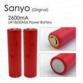 2 pçs/lote new original sanyo 18650 2600 mah bateria recarregável ur18650nsx descarga 20a 3.6 v cigarro eletrônico + frete grátis