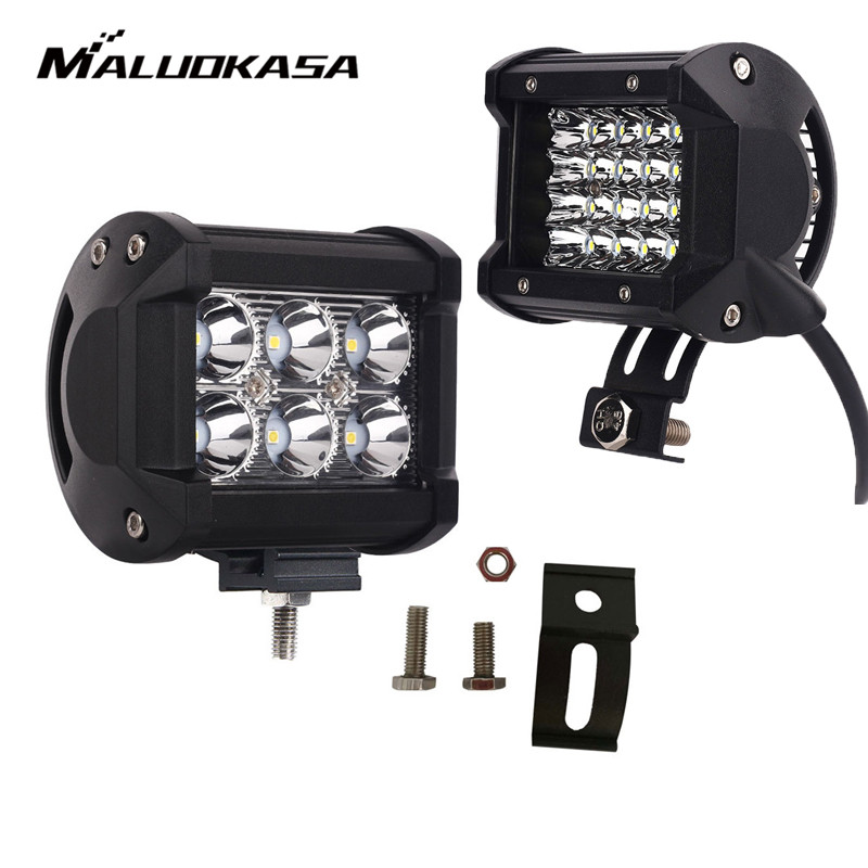 MALUOKASA 18W 36W 72W 144W 6LED 24LED 4inch Fog Lights LED Car Work Light Bar Spot Beam for Auto SUV Boat Driving Offroad ATV цена
