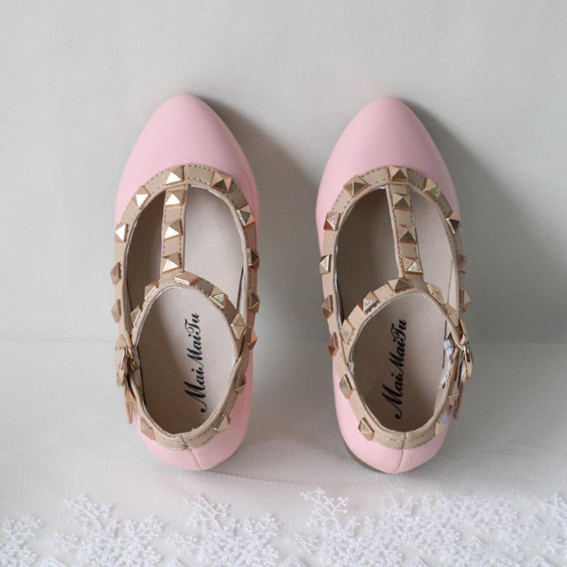 2018 Spring Autumn Princess PU Leather Kids Shoes For Girl Rivet Children Shoes Girls Cutout Children Single Shoes Kids Sneaker