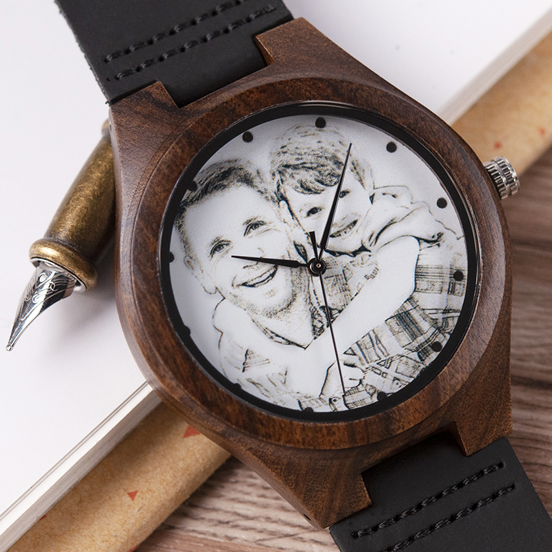BOBO BIRD Personalized Men Watch Wooden Timepieces Special Family Present Customers Photos Free Printing Engraving Drop