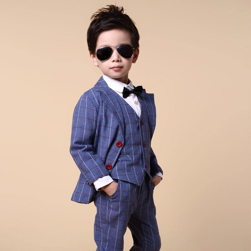 New Boys Clothing Sets Spring Autumn Kids Clothes Suit Gentleman Plaid Coat +Vest+Pants 3pcs Set Boys Wedding Suit for 3-10 Age