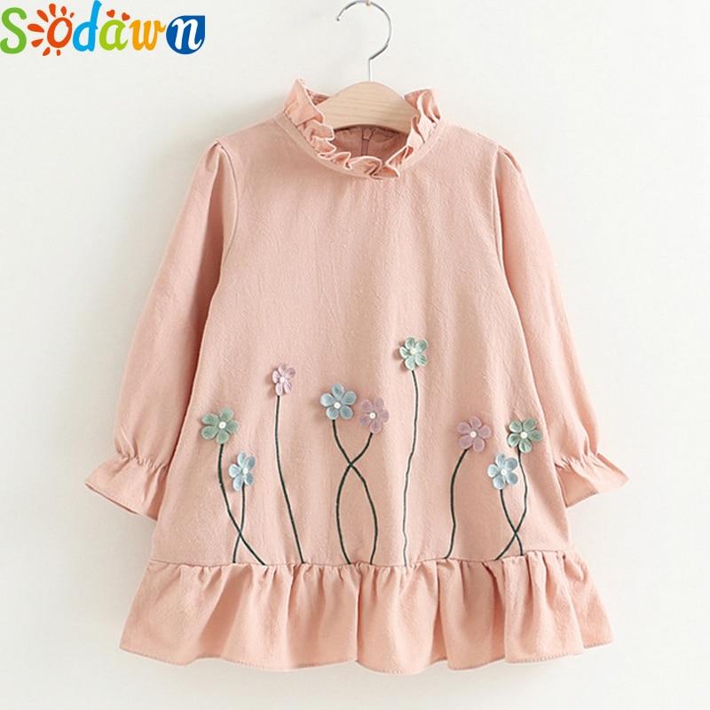 Sodawn Girls Clothes Autumn NEW Flower Patch Design Baby Girls Preincess Dress Children Clohting Fashion Sweet Girls Dress