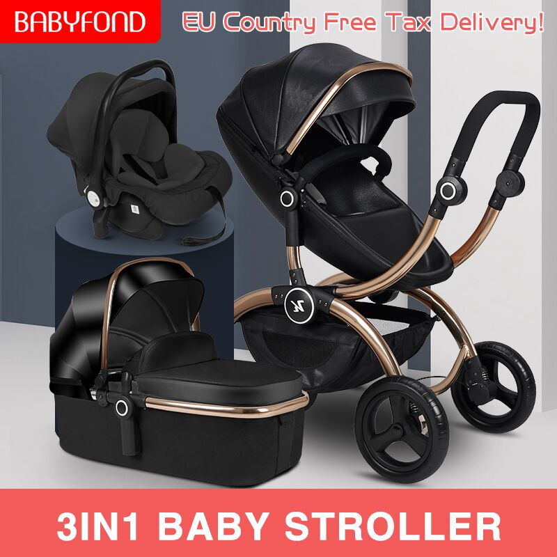 EU High Landscape Luxury Baby Stroller Can Sit Reclining Lightweight Folding Newborn 3 In 1 Royal Pram