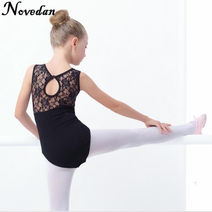 44d996d5c306 New Black Lace Mesh Ballet Leotards Girls Kids Short Long Sleeve ...