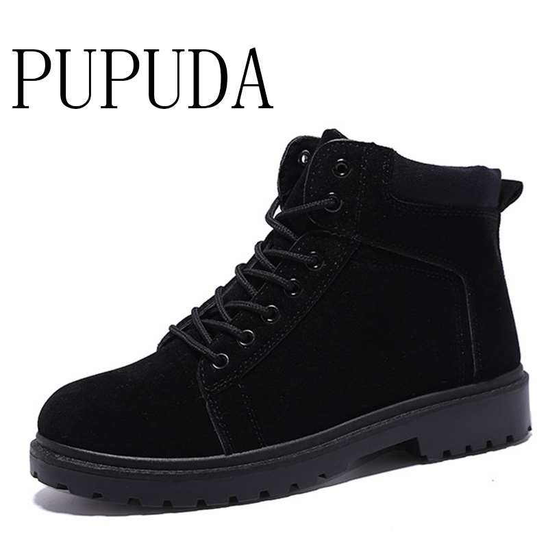 PUPUDA Combat Boots Men Fashion High Top Casual Shoes Male Autumn Ankle Boots Indestructible Shoes Men Winter Military Boot 2019