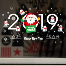 diy christmas happy new year wall stickers cartoon christmas socks santa claus wallpapers home window party