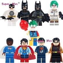 1PCS super hero African Superman Clark Kent Robin Superwoman Bullseye Batman building blocks models toys for children kits