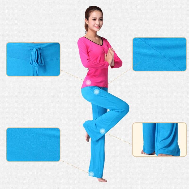 Sport Wide Leg Pants Modal High Waist Stretch Women Flare Pants Dance Club Loose Long Trousers S-4XL (4)