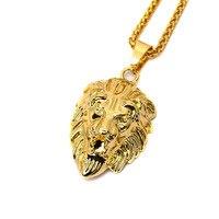Hiphop Golden Lion Pendant Necklace 24k Gold Plated Lion Head Neclace Men Hip Hop Dance Charm