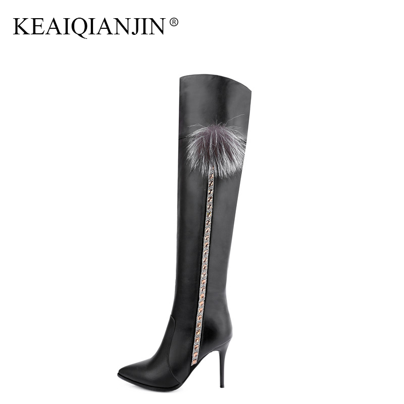 KEAIQIANJIN Autumn Winter Thigh Knee High Boots Woman Genuine Leather Over The Knee Boots Fashion Black Rivet High Heeled Boots keaiqianjin black high heeled shoes autumn winter rivet lace up knee high boots woman genuine leather over the knee boots 2018