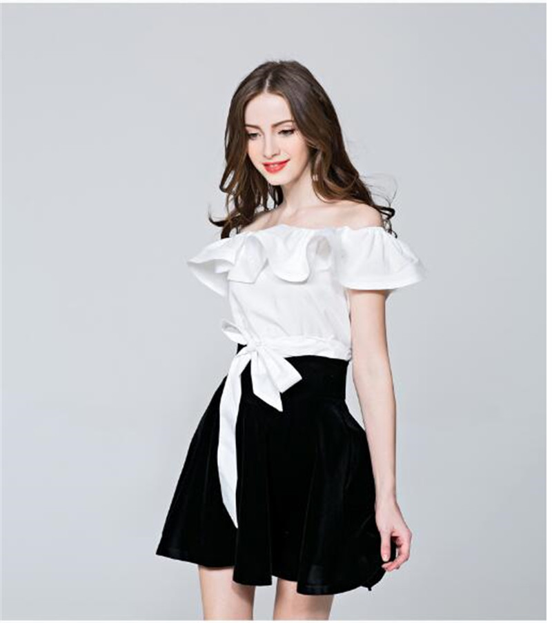 2018 Spring Summer Fashion Tops Women Petal Sleeve Sweet Shirts Sexy Slash Neck Loose Casual Shirt Off Shoulder Ruffles Blouses