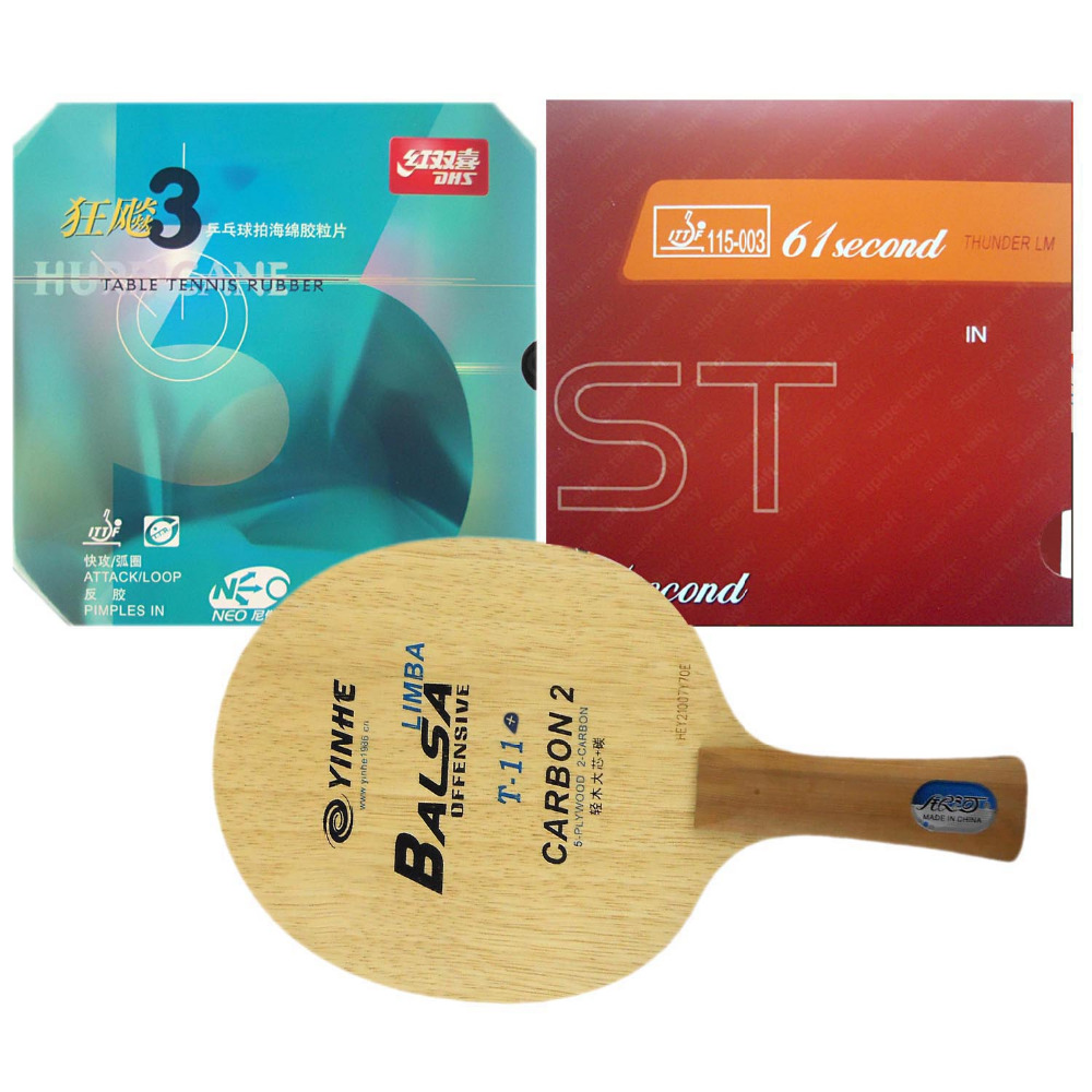 Galaxy T-11+ Table Tennis Blade With DHS NEO Hurricane3 and 61second LM ST Rubber With Sponge for a Racket Long Shakehand FL hrt 2091 blade dhs neo hurricane3 and milky way 9000e rubber with sponge for a table tennis racket shakehand long handle fl