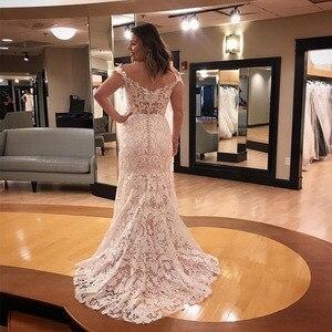 Image 2 - Vintage 2019 Wedding Dresses Off The Shoulder Lace Bridal Gowns Sheath Style Cap Sleeves Vestido De Noiva Custom Wedding Gown