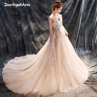 Darlingoddess Ivory Wedding Dresses Long 2018 Wedding Gowns Spaghetti Straps Lace Appliques Luxury Wedding Dress Real