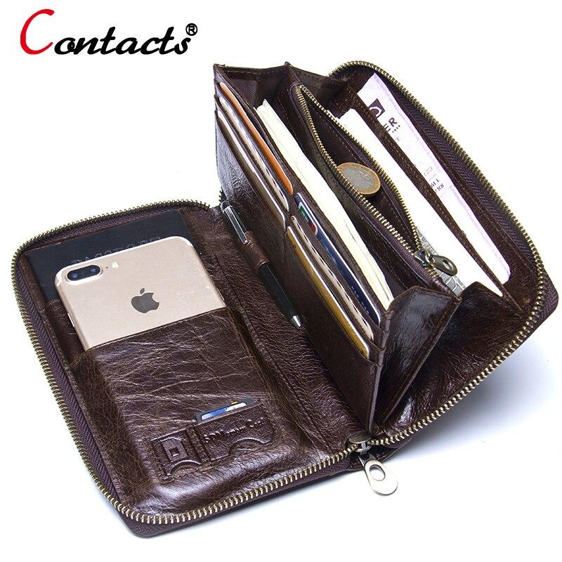 где купить Contact's Genuine leather wallet men clutch wallet male passport card holder money coin purses Phone cases wrist men clutch bags по лучшей цене