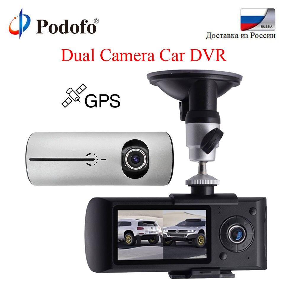 Podofo Двойная камера Автомобильный dvr Dash Cam 2,7 дюймов ЖК-экран портативная Автомобильная камера gps автомобильный видеомагнитофон g-сенсор цифр...