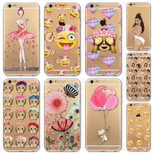 Phone Case Cover For iPhone 5 5s SE 6 6s Soft Silicon Transparent Pink Cat Ballet