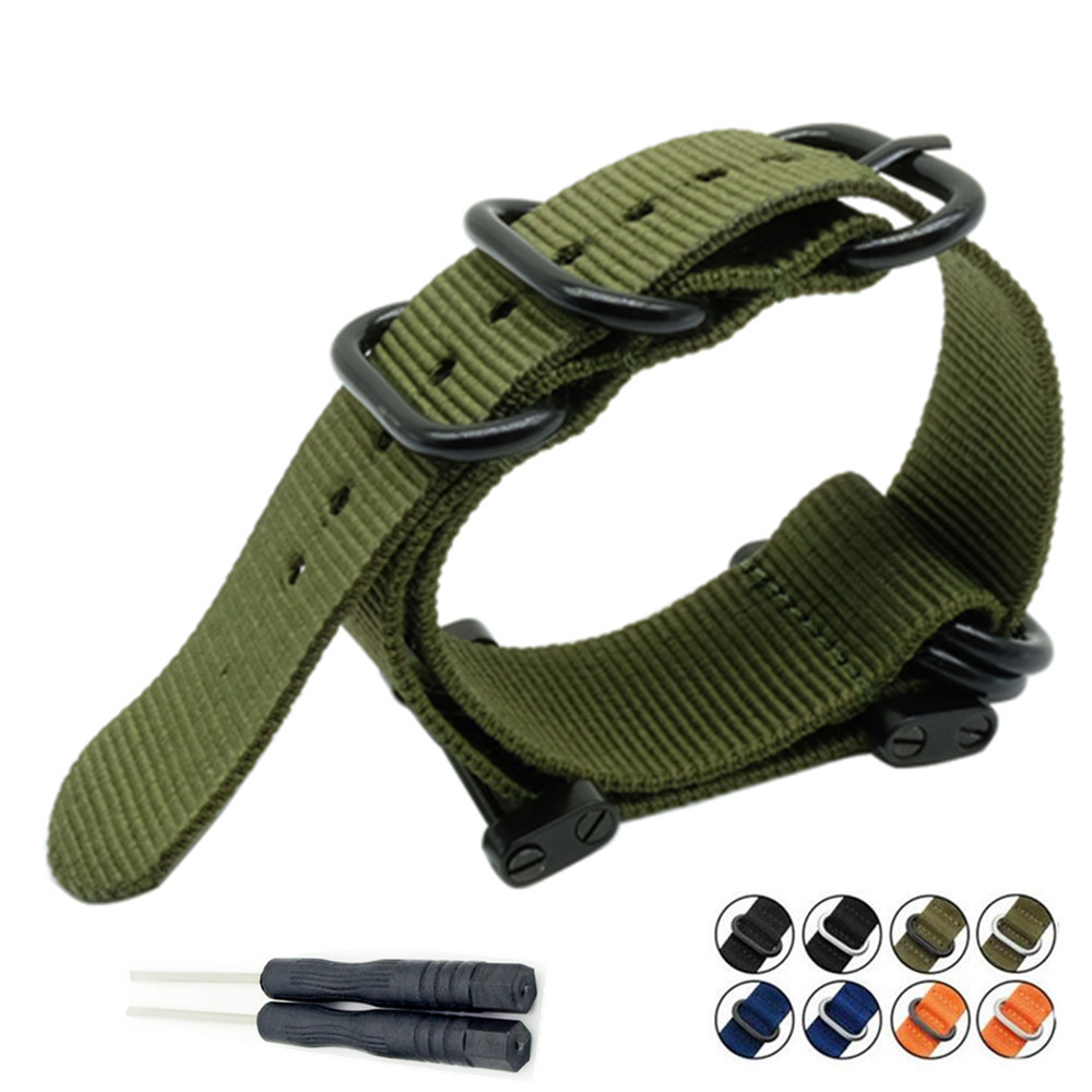 For Suunto Core For Note <font><b>G10</b></font> Military Zulu Heavy Duty 5 Ring nylon Diver <font><b>Watch</b></font> Strap Band Bracelet Adapters Kit and Tool image