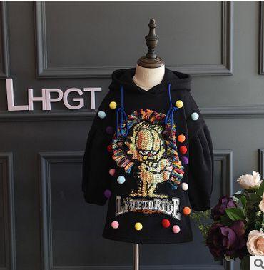 Осень зима детская одежда девушки случайные толстовки Девушки Хип-Хоп свитер Кошка печати блестки кисточкой стиль детская куртка красный черный