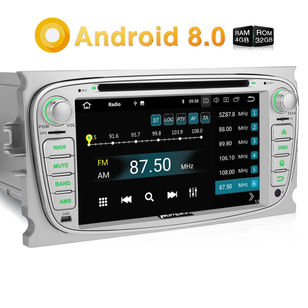 Pumpkin 2 Din 7''Android 8.0 GPS Navigation For Ford Focus/Mondeo Car Radio DVD Player Qcta-Core 4GB RAM Wifi Car Audio Stereo