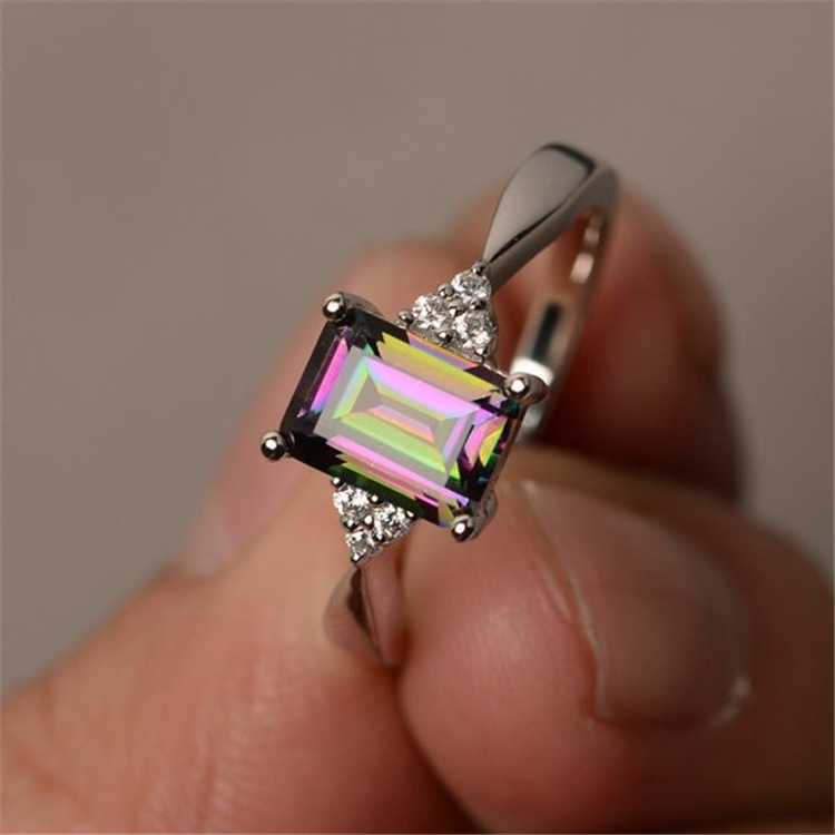 Fashion Personality Inlaid Rainbows Ring Engagement Wedding Rings For Women Luxury Shining Rhinestone Womens Ring Jewelry
