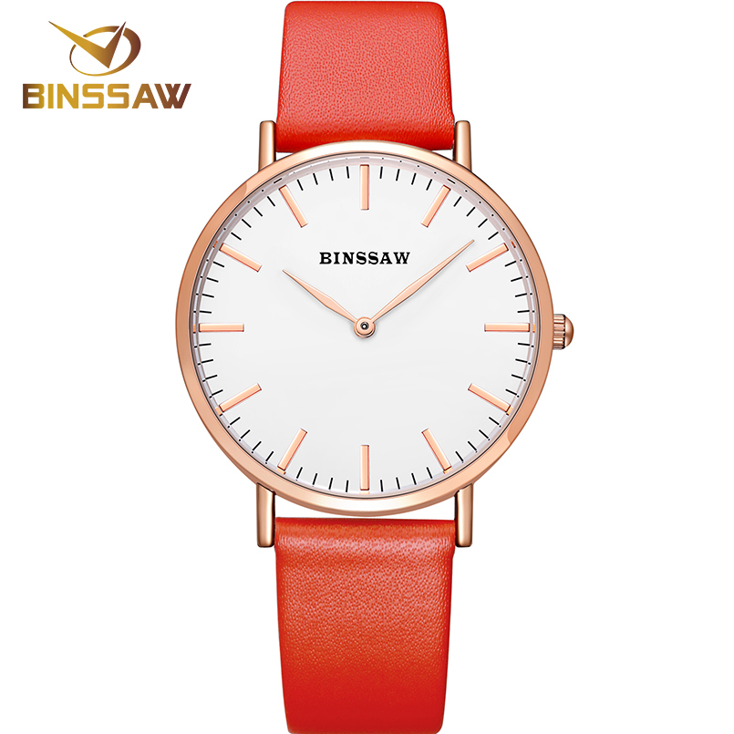 BINSSAW new ultra-thin stainless steel luxury brand quartz watch delicate contracted business real leather women wrist watch