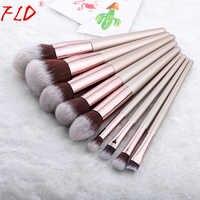 FLD 9 Pieces Kabuki Makeup Brushes Set For Foundation Powder Blush Eyeshadow Concealer Make Up Brush Cosmetics Beauty Tools