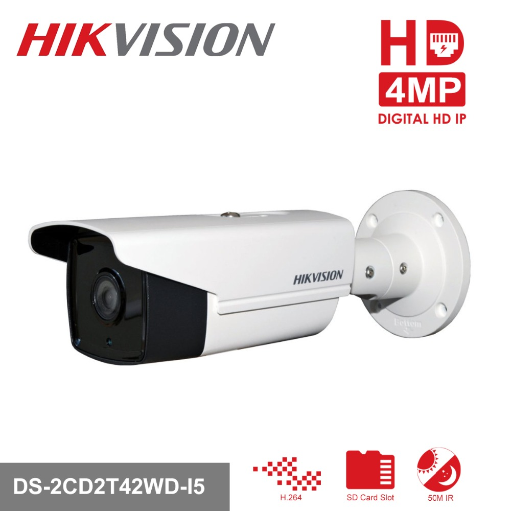 Original Hikvision Bullet IP Camera DS-2CD2T42WD-I5 4MP EXIR Bullet PoE IP Camera Replace DS-2CD3T45-I5 free shipping hikvision english version ds 2cd2t42wd i5 4mp bullet ip camera exir security camera poe 50m ir h 264