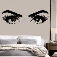 Vinyl Wall Decal Woman Eyes Beauty Salon Wall Sticker Eye Make Up Wall Mural Girl Room Vinyl Wall Decal Beauty Salon Decor AY970