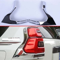 Bright Silver ABS Chrome Car Exterior Rear Lamp Shade Cover for Toyota Prado J150 2018 2019 Car Lamp Car Styling Accessories|Chromium Styling| |  -