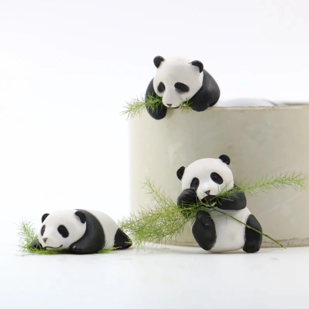 Toys PVC Kawaii Car-Decoration Action-Figure Christmas-Gifts ABS Panda for Children 3pcs/Set