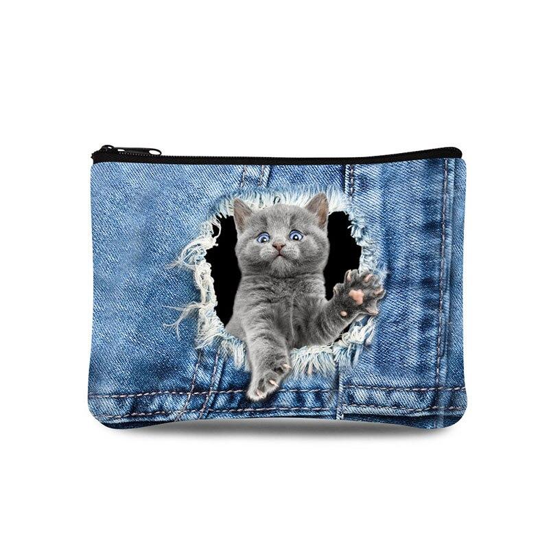 Denim Animal Printing Ultra Light Brand Women Purse Wallets Coin Purse Mini Bags Zipper Pocket For Girls Waterproof Small Bags