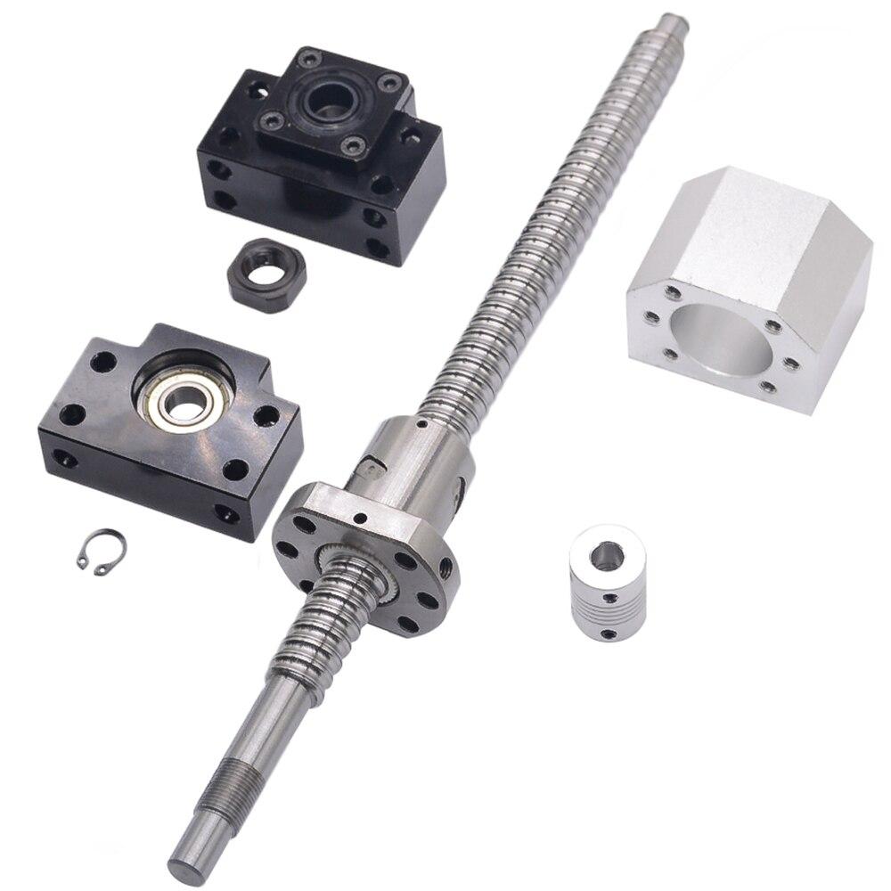 SFU1605 set: SFU1605 tornillo de bola laminado C7 con end mecanizada + 1605 tuerca de la bola + tuerca + BK/BF12 final soporte + acoplador RM1605 - 4
