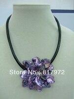 Woman Party Charm Handmade Shell Slice Knit Purple Beautiful Flower Bib Pendant Chain Necklace Chunky Hide