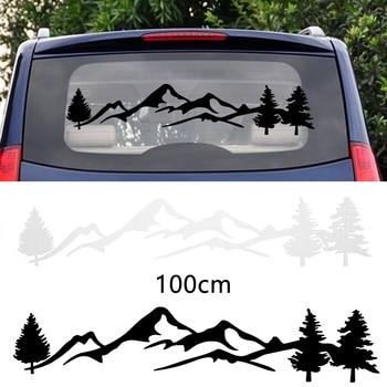 Neue Kommende Wasserdichte 100cm Baum Berg Auto Decor PET Aufkleber Auto Aufkleber Für SUV RV Camper Offroad Auto Mode aufkleber