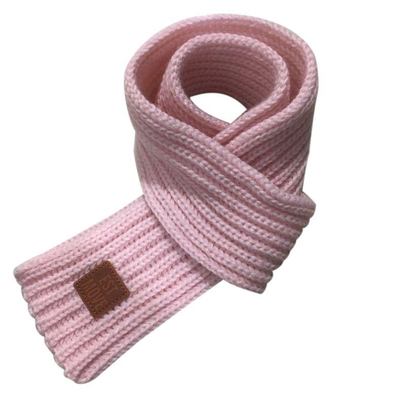 Детский вязаный шарф из акрилового волокна для мальчиков и девочек, плотная зимняя теплая шаль для шеи, шарфы с резиновыми буквами - Цвет: Розовый