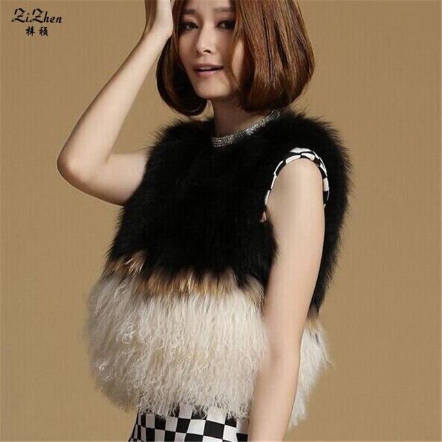 Autumn Winter Short Women's Wool Vest Natural Mongolia Sheep Fur Gilet Real Genuine Fox Fur Patchwork Waistcoat 160512-1
