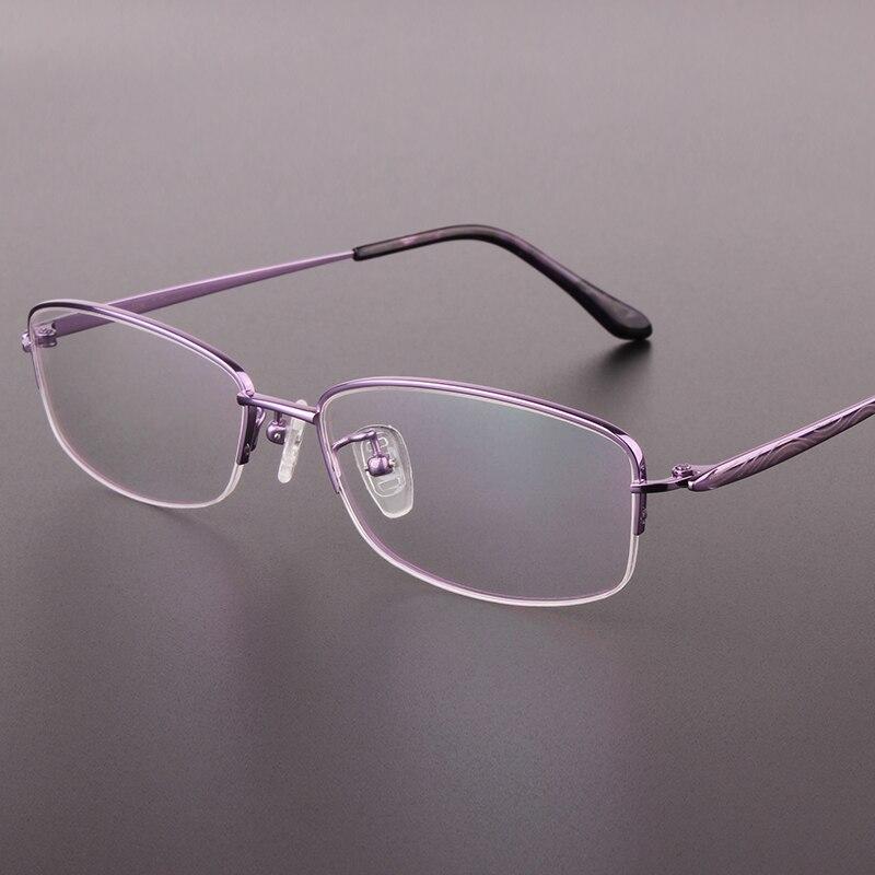 ②La nueva moda medio marco gafas de montura negra pura Titanium ...