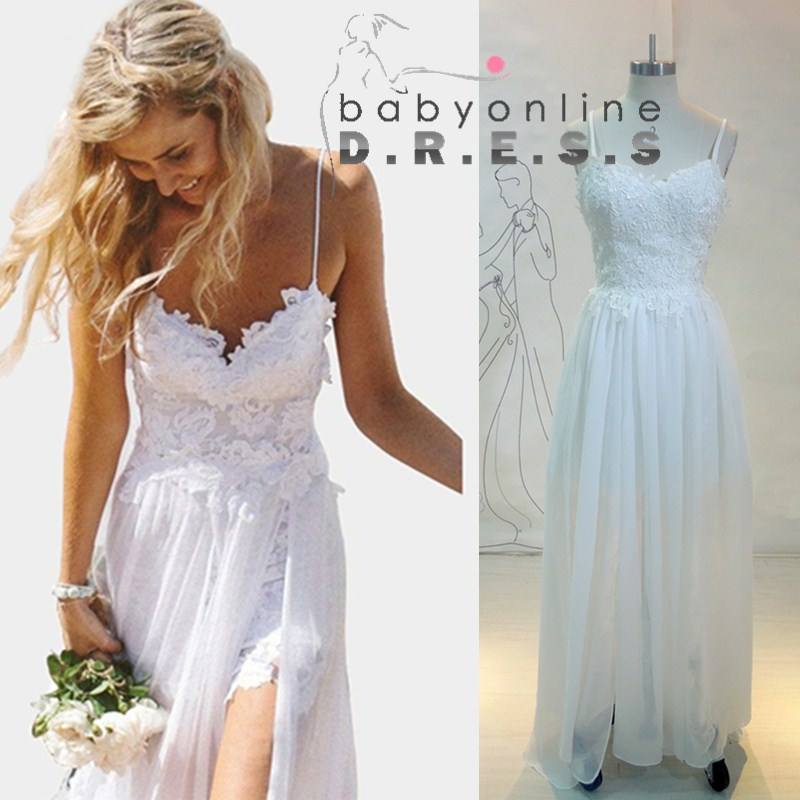 Lace Wedding Gown With Straps: Aliexpress.com : Buy Sexy Spaghetti Straps Lace Beach