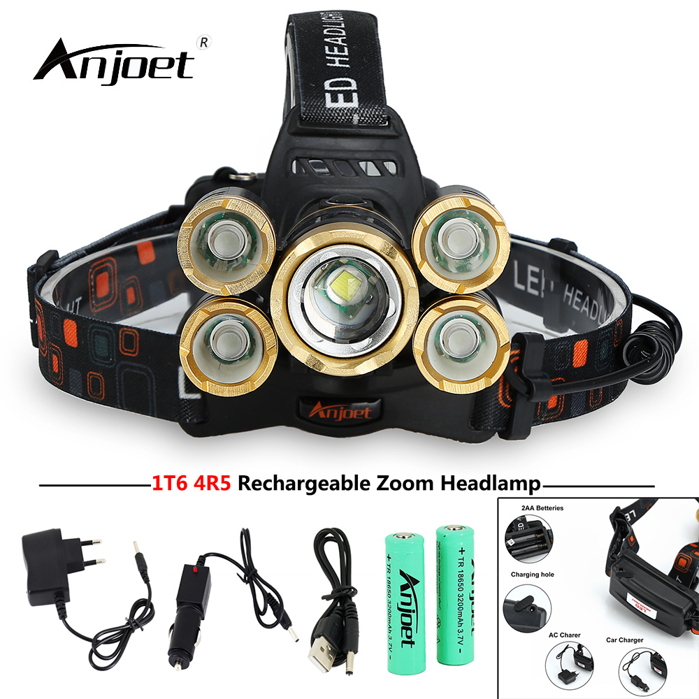 ANJOET Zoomable Headlamp 4R5 1T6 15000 lumens 5 LED Headlight Flashlight Torch with Charging hole USB Charger 18650 Battery