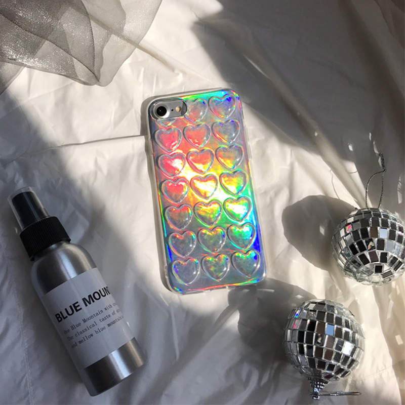 LOVECOM Gradient Iridescent 3D Love Sequin Phone Case For iPhone XR X XS Max 7 8 6 6S Plus 5 5S SE Phone Protector Soft Cover
